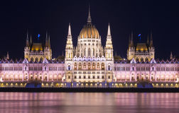 Budapest Parliament at Night, Hungary Royalty Free Stock Photos
