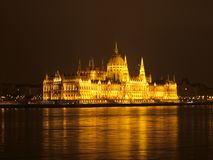 Budapest Parliament at night, Hungary. Budapest Parliament in yellow night lights, Hungary royalty free stock photography