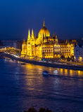Budapest Parliament night scene Stock Images