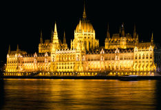 Budapest Parliament Night Shot Royalty Free Stock Image