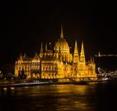 Budapest parliament night Stock Image