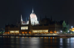 Budapest Parliament night view Stock Images
