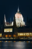 Budapest Parliament night view Stock Photos