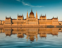 Budapest parliament at the sunset. Front view Stock Photo
