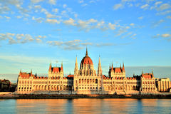 Budapest Parliament at Sunset, Hungary Royalty Free Stock Images