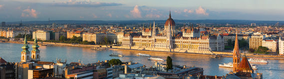 Budapest parliament in the sunset lights Royalty Free Stock Photos