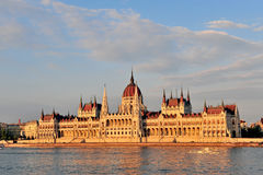 Budapest parliament on sunset. View of Budapest parliament on sunset, Hungary Royalty Free Stock Photography