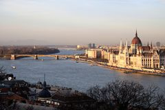 Budapest Parliament view from the Fishermen`s Bastion. stock photos
