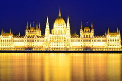 Parliament of Budapest, Hungary at night Royalty Free Stock Photos