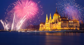 Budapest Parliament With Fireworks Royalty Free Stock Image