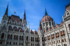 Budapest parliment. Corner of hungarian parliment in summer time Stock Photos