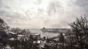 Budapest. Photo of Budapest cityscape in winter Stock Images