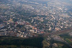 Budapest by plane. Capital of Hungary seen from heights Stock Photography