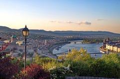 Budapest plats på skymning Royaltyfri Foto