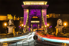 Budapest, pont à chaînes, Hongrie Image libre de droits