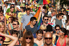 Budapest Pride 2012. Unidentified people participate at the 17th Budapest Pride on 07 July 2012 in Budapest, Hungary Stock Photos