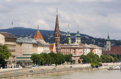 Budapest - quay and churches Stock Photo