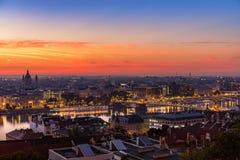 Budapest: ranku błękita godzina obraz stock