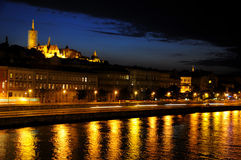 Budapest riverftont by night Stock Photography