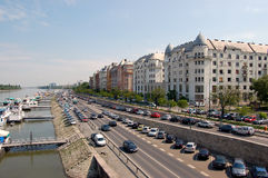 Budapest riverside. Budapest, the capital of Hungary lies on both sides of the river Danube Royalty Free Stock Image