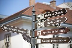 Budapest Road Signs of monument royalty free stock image