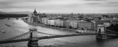 Budapest's Chain Bridge. Black and white scene of the Chain Bridge over the Danube in Budapest, Hungary Royalty Free Stock Photo