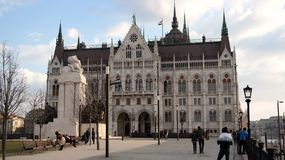 Budapest`s Parliament. Side view of hungarian Parliament building in Budapest, Hungary Royalty Free Stock Photos