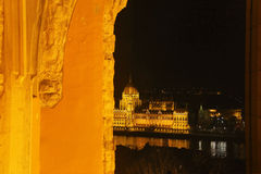 Budapest seen through a Broken Arch. From across the Danube river Royalty Free Stock Photo