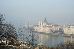 Budapest. Sightseings from Budapest castle, the parliament Royalty Free Stock Photo