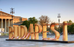 Budapest sign at Heroes' square Stock Photography
