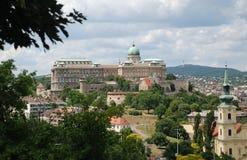 Budapest sikt av den kungliga slotten Arkivbilder