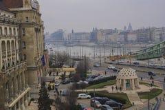 Budapest sikt från fönstret royaltyfria bilder