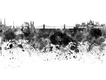 Budapest skyline in black watercolor Royalty Free Stock Images