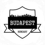 Budapest skyline. Black and white vector illustration royalty free illustration