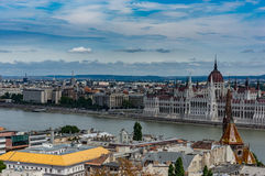 Budapest skyline. The Budapest cityscape from across the river Royalty Free Stock Images