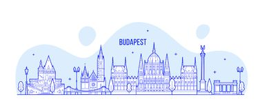 Budapest skyline Hungary vector city buildings Royalty Free Stock Images