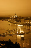 Budapest skyline at night. Color toned image of Budapest skyline at night. (This view includes: Chain Bridge, Hungarian Parliament and River Danube royalty free stock images