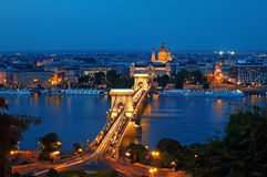 Budapest Skyline at night Stock Photos