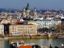Budapest skyline and Panoramic view of the Basilica in Budapest stock photography