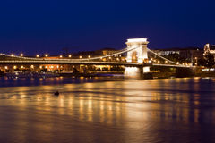 Budapest skyline, reflected on the river bridge. Royalty Free Stock Photography
