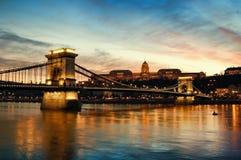 budapest solnedgång Royaltyfria Bilder