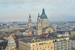 Budapest som ses från över Fotografering för Bildbyråer