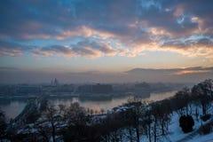 Budapest-Sonnenaufgangansicht Lizenzfreies Stockfoto