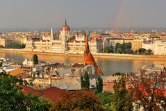 Budapest am Sonnenuntergang Stockfotos
