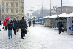 Budapest sotto neve Fotografie Stock Libere da Diritti