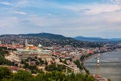 Budapest-Stadtbild mit Buda Castle stockfotos