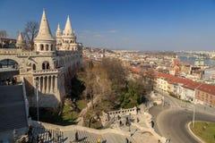 Budapest-Stadtsonnenaufgangskyline am Fischer Bastion, Budapest, Ungarn Lizenzfreies Stockfoto