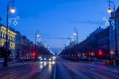 Budapest, strada di Andrassy all'alba Immagine Stock Libera da Diritti