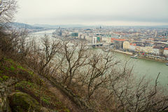 Budapest. Top view from the Buda side of the Elisabeth Bridge in Budapest Royalty Free Stock Photo