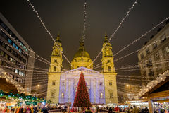 Budapest traditional Christmas market at Stephan Platz. BUDAPEST, HUNGARY - 8 DECEMBER 2016: Budapest traditional Christmas market at Stephan Platz in the city Stock Images
